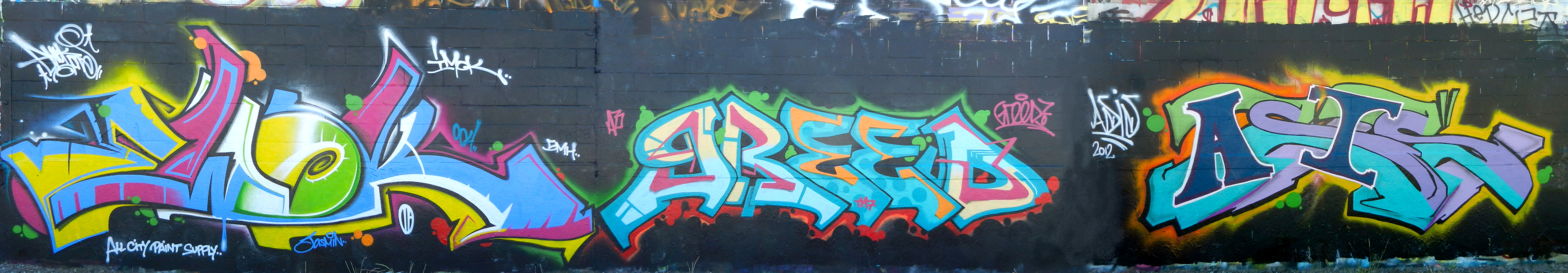 Ewok, Greed, Asis on the former Seattle SODO wall 2012.