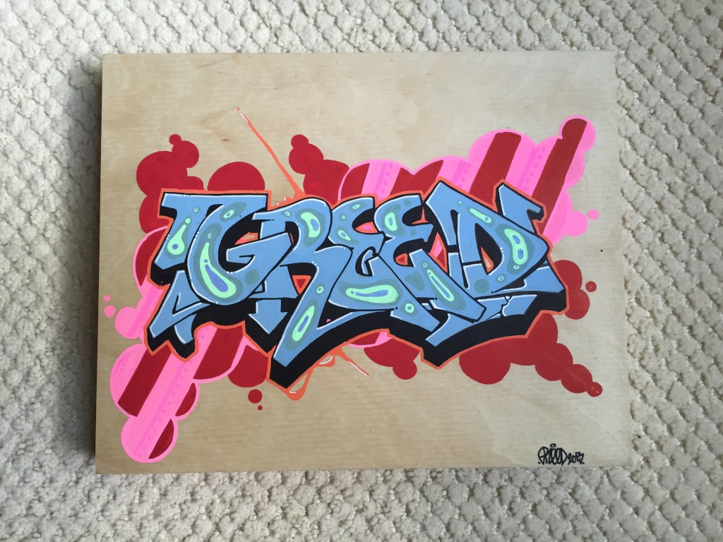 "Greed acrylic on wood panel 8""x10"""